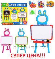 Детский мольберт 3в1 доска знаний, Uk-Ru-Eng. Разные цвета