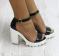 Босоножки кожа черные на каблуке с ремешком