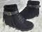 Сникерсы - ботинки бахрома, черные