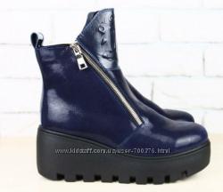 Ботинки кожа зимние синие на утолщенной подошве