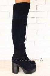 Ботфорты замшевые на устойчивом каблуке, синие