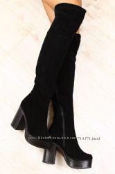 Ботфорты замшевые на устойчивом каблуке, черные