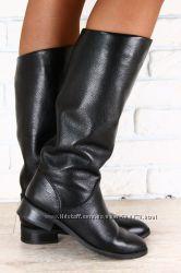 Сапоги кожаные на небольшом каблуке