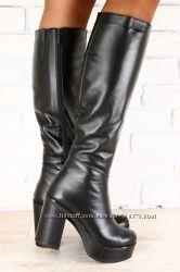 Сапоги кожа, на устойчивом каблуке, евро зима, черные