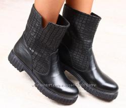 Ботинки деми натуральные под кожу крокодила