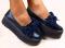 Слипоны кожа синие на утолщенной подошве, с замшевым бантиком