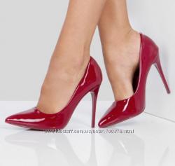 Туфли - лодочки, бордово -  красные