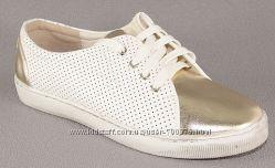 Кеды белые, золотистый носок