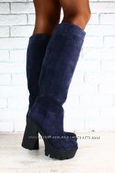 Сапоги Giuseppe Zanotti синие замшевые на толстом каблуке