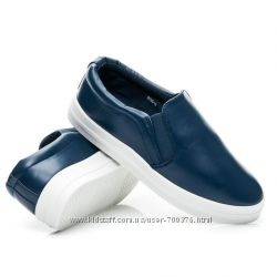 Слипоны синие на белой подошве