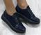 Туфли замша синие на шнуровке, носок питон