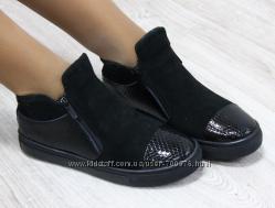 Ботинки комбинация замши и лака