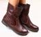 Ботинки насыщенно коричневые кожаные, демисезон, на байке