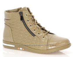 Ботинки стильные, комбинированные, беж
