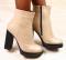 Ботинки демисезон кожаные на устойчивом каблуке, капучино