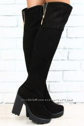 Сапоги ботфорты черные замшевые на толстом каблуке евро зима