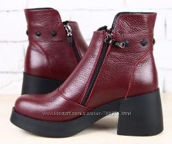 Ботинки кожа на модном расклешенном каблуке, цвет марсала