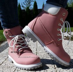 Ботинки в стиле тимберленд, розовые