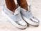 Слипоны серебристые кожаные на белой подошве с блестящей резинкой