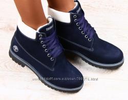 Ботинки Timberland синие натуральный нубук