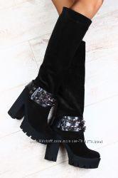Сапоги Giuseppe Zanotti черные замшевые на устойчивом каблуке