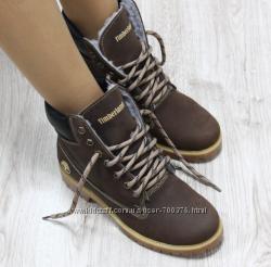 Ботинки Timberland шоколадного цвета, натуральная кожа