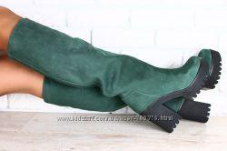 Сапоги европейка на высоком устойчивом каблуке из натурального нубука