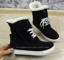 Ботинки замшевые зимние на овчине