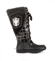 Сапоги черные на шнуровке и молнии