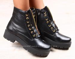 Ботинки зимние черные кожаные на тракторной подошве