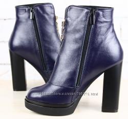 Ботинки кожаные на устойчивом каблуке