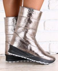 Ботинки кожаные зимние на меху, бронзового цвета