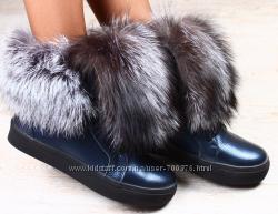 Ботинки кожа зимние с натуральным мехом чернобурка, синие