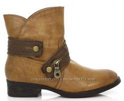 Ботинки утепленные украшены молниями, коричневые и черные