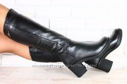 Сапоги кожаные зимние на широком устойчивом каблуке