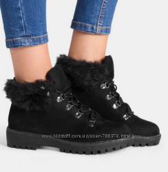 Ботинки зимние черные на шнуровке