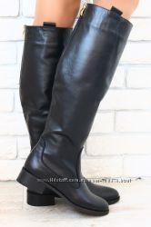 Сапоги зимние кожаные черные, низкий ход