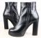 Ботинки кожаные на устойчивом каблуке черные