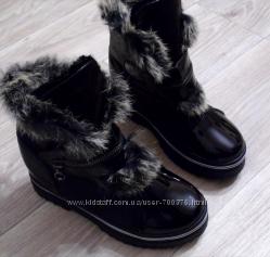 Ботинки зимние черные, кролик