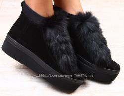 Ботинки замшевые зимние с натуральным мехом кролика