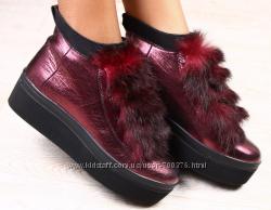 Ботинки кожаные зимние с натуральным мехом кролика, бордо