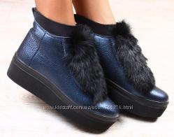 Ботинки кожаные зимние с натуральным мехом кролика. , синие
