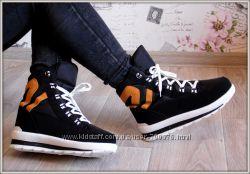 Ботинки - кроссовки зимние, белый  рыжий