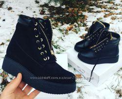 Ботинки зимние с замком натуральная кожа и замша