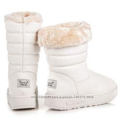 Сапоги - дутики белые зимние