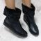 Ботинки зимние кожаные с опушкой, черные