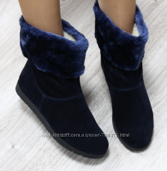 Ботинки зимние замшевые с опушкой, синие