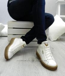 Ботинки - криперы зимние натуральная кожа, белые, 36 р.