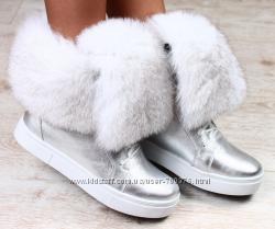 Ботинки кожа зимние серебро с натуральным мехом белый песец