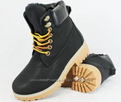 Ботинки зимние черные в стиле тимберленд